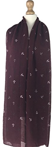 new-ladies-women-anchor-print-stole-scarf-snood-shawl-wrap-scarves-wine