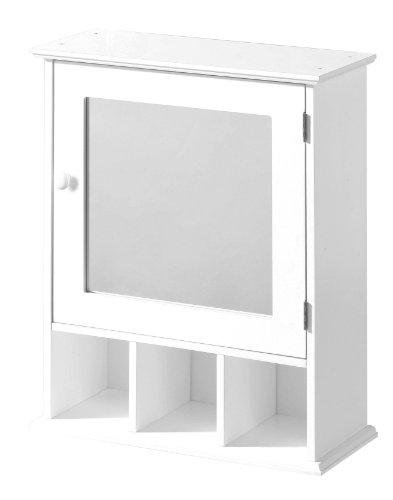 #Premier Housewares Badezimmerschrank, Spiegeltür, 3 Fächer, 58 x 46 x 20 cm, weiß#