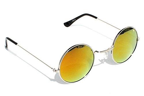 Immerschön Sonnenbrille goldfarbig blau-grün verspiegelt John Lennon Hippie Retro 70's Woodstock Party 5sx7fx5A