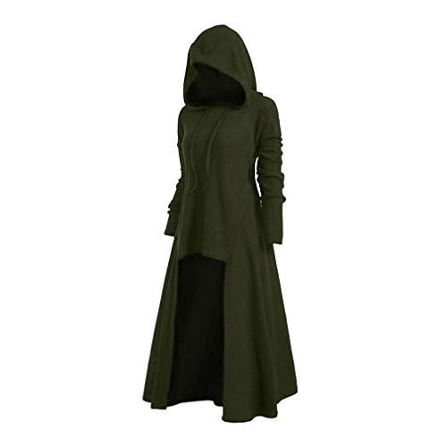 Mxssi Retro Kleid mit Kapuze für Damen Frauen Lange Ärmel Damenkostüme Vintage Mittelalter Renaissance Halloween Party Kostüm Kleider Große Größen Lange Pullover Kleidung