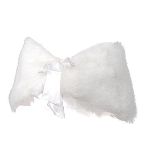Manadlian écharpe/châle/foulard/étole/pashmina,Robe de mariée à la mode Châle de mariage châle à fausse fourrure avec flûte à bec Blanc