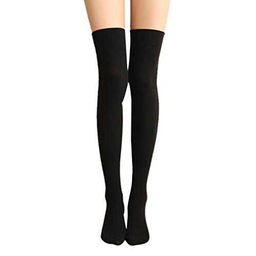 (FORH Damen Sexy Overknee Strümpfe Vintage Stricken Knee High Socks über Knie-Lange Baumwollstrümpfe Sport Leggings Socken Halterlose Strümpfe (Schwarz))