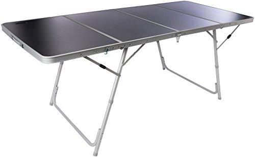 Bertoni Fold 4 Tavolo da Campeggio e Mercatini Robusto e Richiudibile in 4 (Valigetta), Marrone/Alluminio, Unica