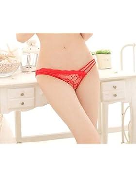 RangYR Bragas de encaje con borde biselado con ropa interior para mujer, color rojo, ideal como regalo de vacaciones...