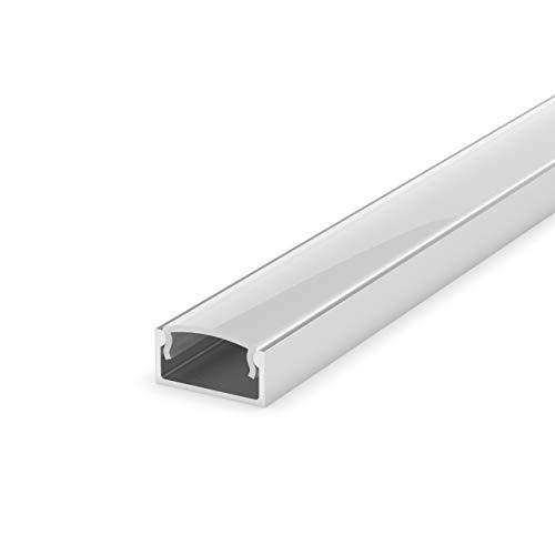 LumenTEC Set: LED Profil, 200cm Profil LED für LED Streifen LT4 + Abdeckung (Milchig)