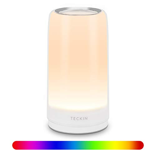 Lampara Mesilla de Noche,Luz Nocturna LED,Lámpara de Mesa,Control Tactil,Regulable,TECKIN Lámpara de Tabla de Decoración con Modo RGB y Luz Blanca Caliente,256 Luces de Color