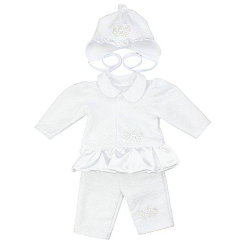 Baby Taufbekleidung Taufkleid Mädchen 4-tlg. Set Taufanzug Jäckchen Hose Wickelhemd Mütze Taufkleidung, Farbe: Weiß, Größe: 56