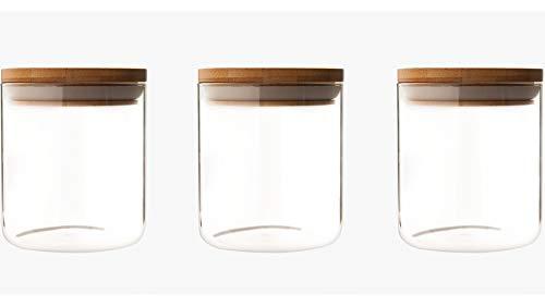 3 unidades Tarros de cristal con tapa de bambú, diámetro 9,6 cm, altura 11,5 cm