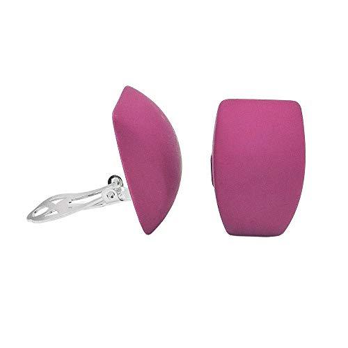 Clip Ohrring 27x17mm Trapez pink matt Kunststoff-Bouton Rosa Trapez