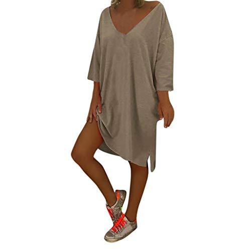 Damen Kleid TPulling großem V-Ausschnitt und durchgehendem Saum Neckholder ärmelloses Gerafftes Maxikleid - Geraffte Neckholder