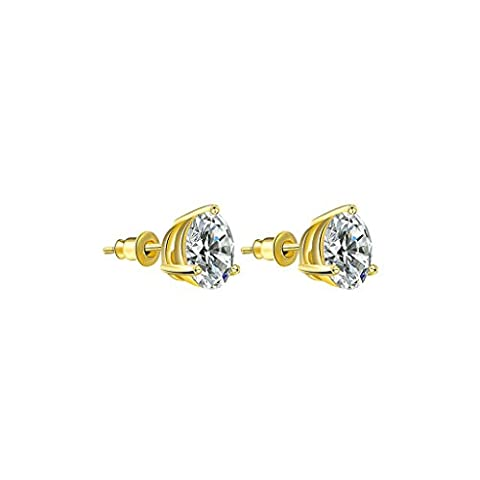 Gnzoe Gold Plated Fashion Three Claws Round Cut Cubic Zirconia Gold Stud Earrings for Women