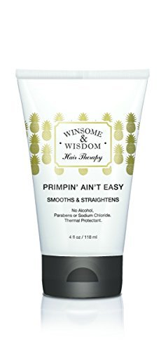 Primpin' Ain't Easy-Hair Straightening Serum for Curly Hair-4 fl Oz. Winsome & Wisdom-Alcohol Free Styling lotion -Paraben Free Blow Dry Lotion-Thermal Protectant straightening lotion-Cruelty Free by Winsome & Wisdom (Serum Blow Dry)