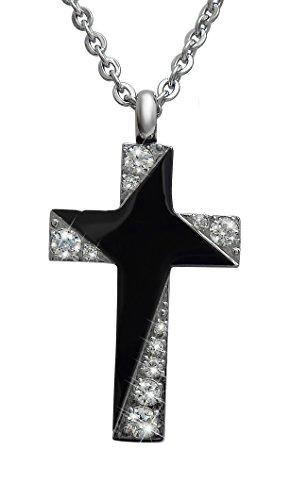 Hanessa Gravierte Kette mit Wunsch Gravur aus Edelstahl in schwarz Kreuz Anhänger Schmuck für Herren Geschenk für den Mann