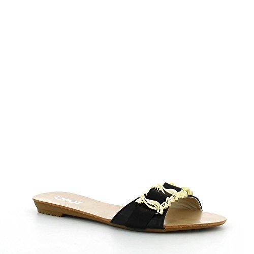 Ideal Shoes - Mules bi-matière décorée d'une chaîne Rosy Noir