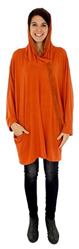 Mein Design Lagenlook de Mallorca Damen Tunika HS100 Shirt Plus Size Hoody Jersey Gr. 40, 42, 44, 46, 48, 50, 52, Orange