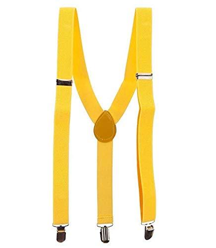 kakakooo Ajustable Tamaño elástico largo Tirantes Y - Volver tirantes de neón correa ocasional botón clip dual en amarillo.