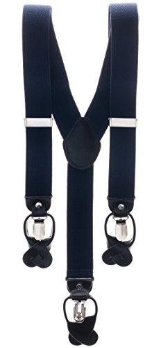 nträger 3,5 cm breit, Y-Form mit starken Clips und Echt-Lederapplikationen - Verschiedene Farben und Muster | Hosenträger für Herren (Jungen Dunkel-lila Kleid Shirt)