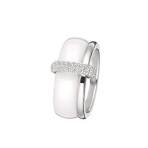 Mes-bijoux.fr - Bague Femme en Céramique Blanche et Argent 925/1000 - 7BJ6269WAgv_52