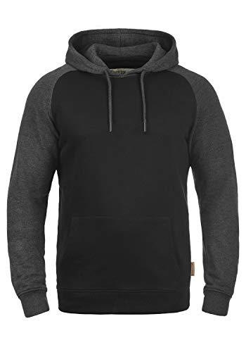 Indicode Elliot Herren Kapuzenpullover Hoodie Pullover Mit Kapuze, Größe:L, Farbe:Black - Charcoal (9992)
