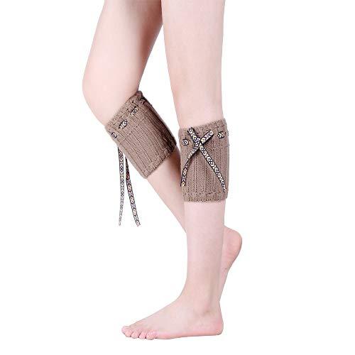 weibliche Socken Button Wolle stricken warme kurze Abschnitt Stiefel Bein Sets ()