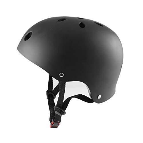 Dial-pad Headset (WEIWEITOE Professionelle Hip-Hop Boy Helm Kinder Outdoor Sport Skateboard Skating Helm Fahrradhelm für Kinder/Erwachsene, schwarz, L)