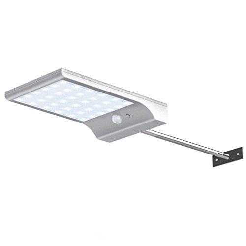 SIWEN 36-LED Solar Bewegungsmelder Lichter, Wasserdicht 65 Level, Wandleuchte Mit Bewegungssensor, Für Outdoor Garden Patio Gehweg Beleuchtung (1Pac),White,Pole (Solar-pole-lampen)