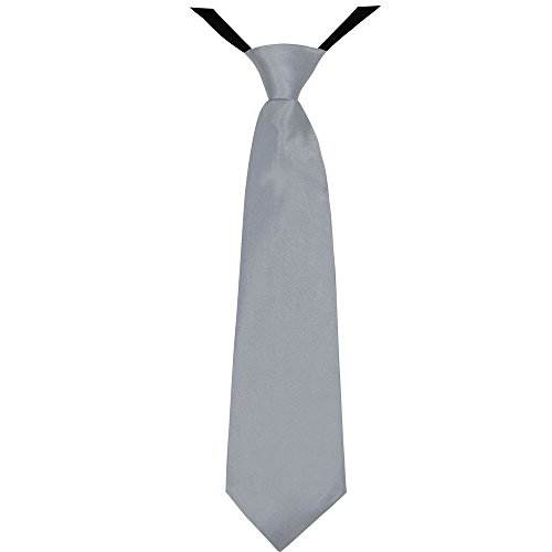 Soul-Cats® Jungen Krawatte 35 cm vorgebunden Seiden Look Hochzeit Kommunion Jugendweihe, Farbe:hellgrau