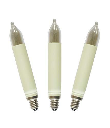 AUSWAHL 8V - 55V * netSells® * 3er Set * 23 V / 3 W Schaftkerze * Ersatzlampe für Schwibbogen u. Lichterketten * für 10 Brennstellen * f. innen + außen * elfenbein