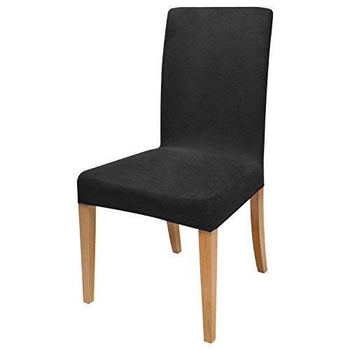 Beautissu Housse strech Mia pour chaise - 45x45cm - Elegante moderne - Coton - Bi-Elastique - OEKO-TEX - Noir