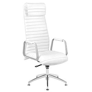 Activeshop Rico 186 Kosmetikliege Make Up Stuhl Bürostuhl Schreibtischstuhl Drehstuhl mit Verstellbarer Sitzhöhe (132-144 cm) Weiss Premium-PU-Leder