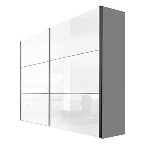 Express Möbel Kleiderschrank Schlafzimmerschrank Weiß Hochglanz Lack 250 cm, 2-türig, BxHxT 250x216x68 cm, Art Nr. 01680-184