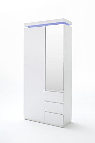 Robas Lund, Schrank, Garderobenschrank, Ocean, Hochglanz/weiß, LED, Inklusive Fernbedienung, 198 x...