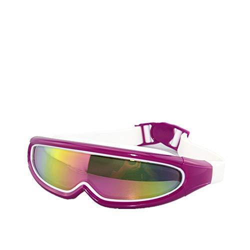 Taucherbrille,Outdoor Unisex Große Box Bunte Überzogene Schutzbrillen Wasserdichte Anti-Fog-Silikon Schwimmen, Lila