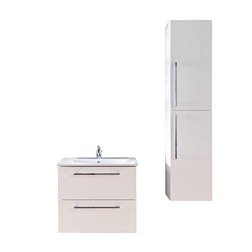 trendteam smart living Badezimmer 2-teilige Set Kombination Intenso, 108 x 194 x 46 cm in Weiß Hochglanz mit viel Stauraum