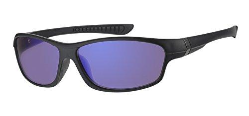 Eyewear World Kinder-Sonnenbrille, mit schwarzem Rahmen, 5-9 Jahre, Blaue verspiegelte Gläser