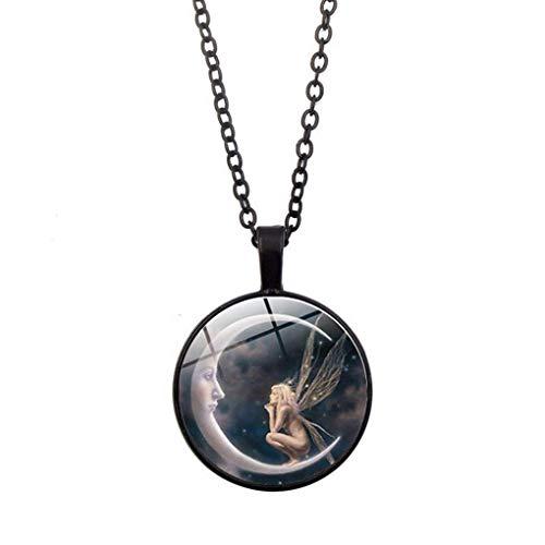 LAJICEF Halskette Retro Mond-Engels-Halsketten-Antike-Mädchen Sweater Hals-Anhänger Frauen Schmucksache-Feiertags-Geburtstag-Geschenk,Schwarz