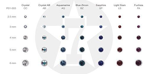 Stahl - Schraubkugel - weiß - Kristall - SWAROVSKI - Supernova Concept(Piercing Schraubkugel Aufsatz für Hufeisen, Stäbe, Labrets etc.) 4 mm   AB Crystal AB / arc-en-