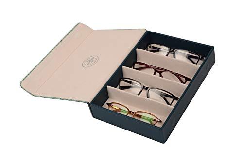 Brillenbox Mehrbrillenetui mit Magnetverschluss Brillenetui für bis zu 4 Brillen Quartett Klapperschlange (blaugrün) Größe 246x175x51mm robust & edel