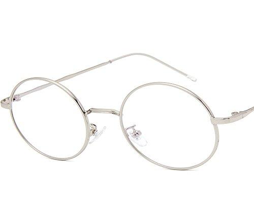 UMCCC Flache Spiegel Kleine Runde Rahmen Metall Kunst Vielseitig Retro Brillengestell,Silver
