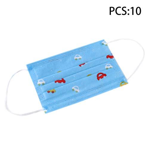 Zchenchen 10 Stück/Pack Kinder niedliche PM2.5 Anti-Dust Mund-Masken für Kinder, Einweg-Masken aus Vliesstoff mit Respiration Ventil Cartoon Fischtier Auto
