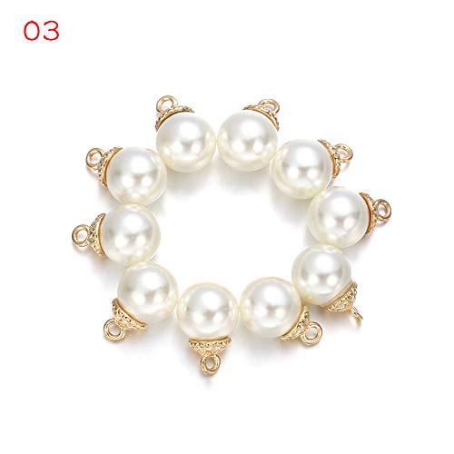DUHUANG 10pcs / Set Hochzeitsdeko DIY Scrapbooking Kleidung Bogenzubehör Garment Dekorative Nähen Taste Strass Anhänger Perlen (3 + 3) -
