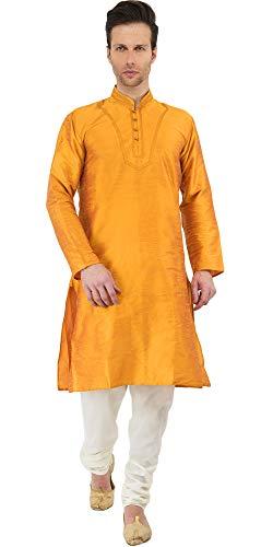 Indische Hochzeit Mens Kurta Pyjama handgemachte goldene Langarm-Shirt -