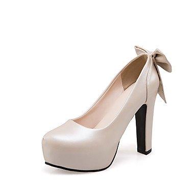 Talloni delle donne Primavera Estate Autunno Comfort PU Wedding Party & abito da sera tacco grosso Bowknot Blu Rosa Bianco Beige Walking White