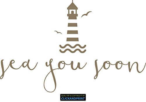 CLICKANDPRINT Aufkleber » Leuchtturm sea you soon, 170x108,0cm, Messing Metallic • Dekoaufkleber / Autoaufkleber / Sticker / Decal / Vinyl -