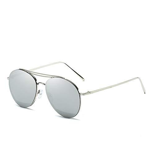Easy Go Shopping Classic Aviator Mirrored Flat Lens Sonnenbrille Metallrahmen mit Federscharnieren Metallrahmen Sonnenbrille Sonnenbrillen und Flacher Spiegel (Color : Silber, Size : Kostenlos)