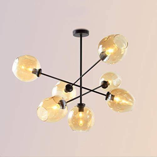 Beleuchtung Moderner Metal Anhänger Beleuchtung Hängelampe Kronleuchter An Der Decke Mit 7 Leuchtet Gold Finish Befestigung Unterputz (Farbe: Schwarz) -