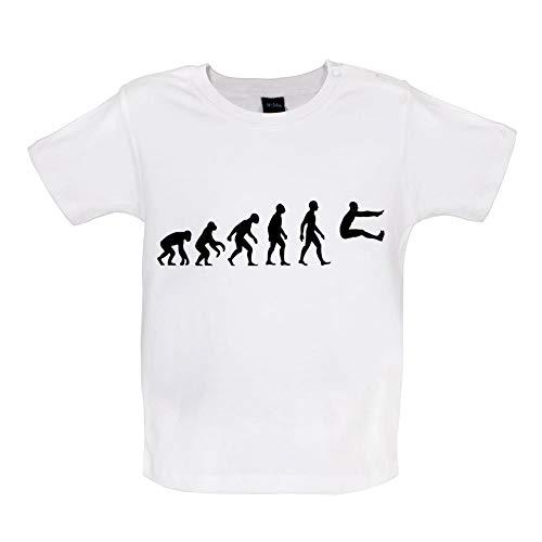 Baby T-Shirt - Evolution of Man - Weitsprung - 8 Farben - 3 bis 24 Monate - Weiß - 3-6 Monate -