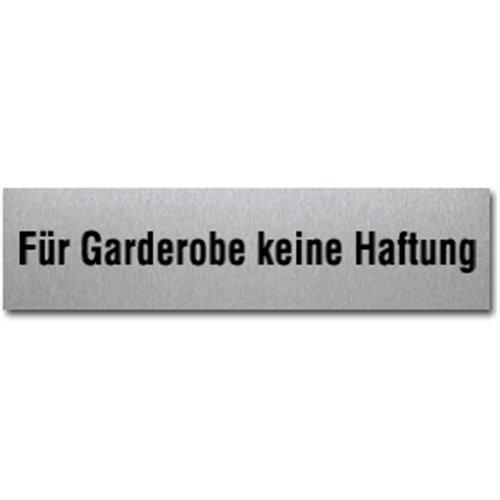 Schild Für Garderobe keine Haftung, Edelstahl, selbstklebend, 4x16 cm