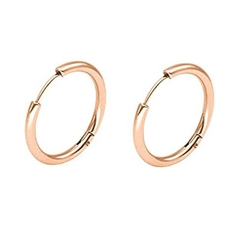 Aooaz Schmuck 1 Paare / 2 Stück Creole Ohrringe 8mm Edelstahl Allergiefrei Rose Gold 2.5mm Breite Ohrringe für Damen und Herren Frauen Männer