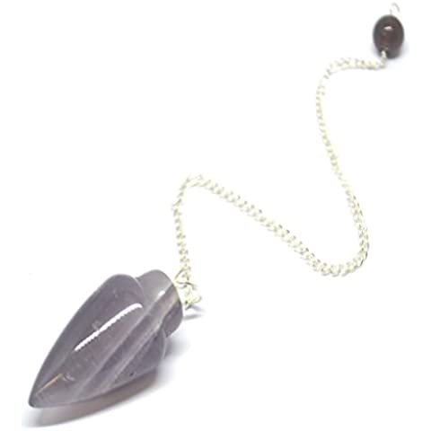 Ametista liscia a forma di proiettile radioestesia cristallo guarigione a pendolo e sacchetto di (Healing Gemma Di Cristallo)